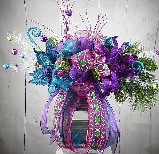 whimsical tree topper whimsical lantern swag purple teal pink green christmas decor whimsical - Whimsical Christmas Tree Toppers