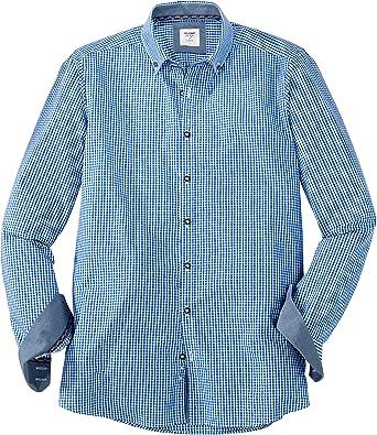 OLYMP - Camisa formal - para hombre azul y blanco S: Amazon ...
