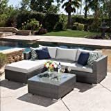 Francisco Patio Furniture ~ Outdoor Wicker Conversation (Chat) Set Set (5 Piece, Grey)
