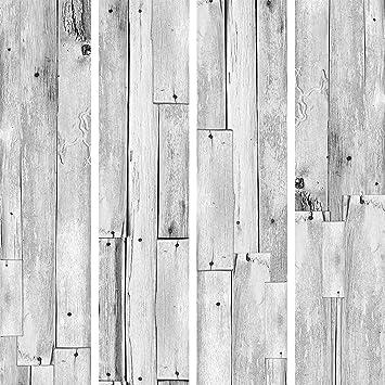 Murando Puro Tapete Realistische Tapete Ohne Rapport Und Versatz 10m Vlies Tapetenrolle Wandtapete Modern Design Fototapete Holz Grau Blatter