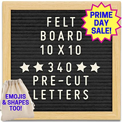 Black felt letter board with 10x10 wooden frame and stand includes 340 changeable pre cut letters numbers emojis separated in canvas bag best black felt letter board with 10x10 wooden frame and stand includes 340 changeable pre spiritdancerdesigns Images