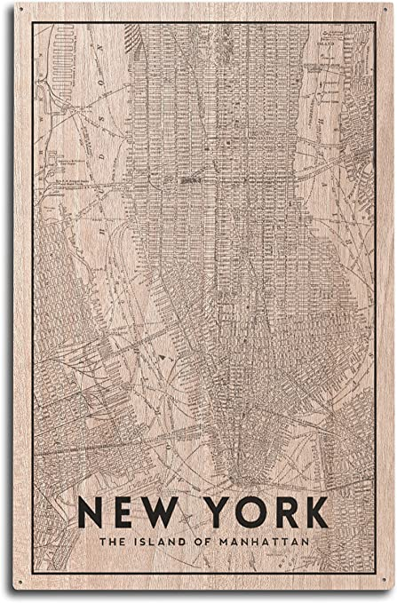 Early Pictorial Map Manhattan Bronx New York Wall Poster Print Vintage History