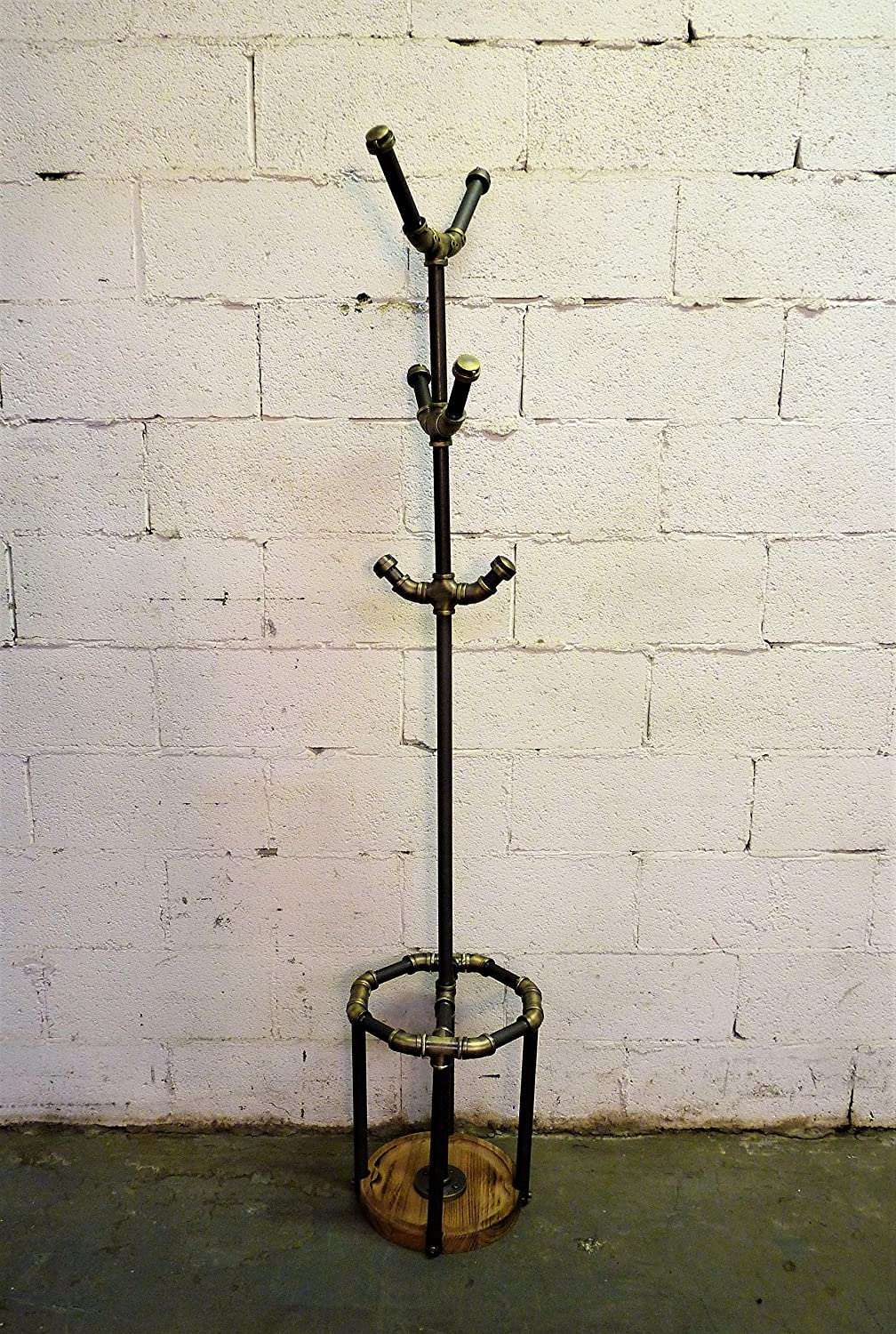FURNITURE PIPELINE Industrial 3 Tier Coat Rack Tree with Umbrella Holder and Six Hooks, Metal and Reclaimed Aged Wood Finish, Grey Pipes and Brass Fittings with Natural Stained Wood