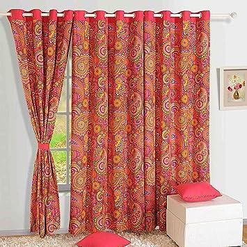 amazon com colorful cotton window curtains 54 x 60 inch mod floral