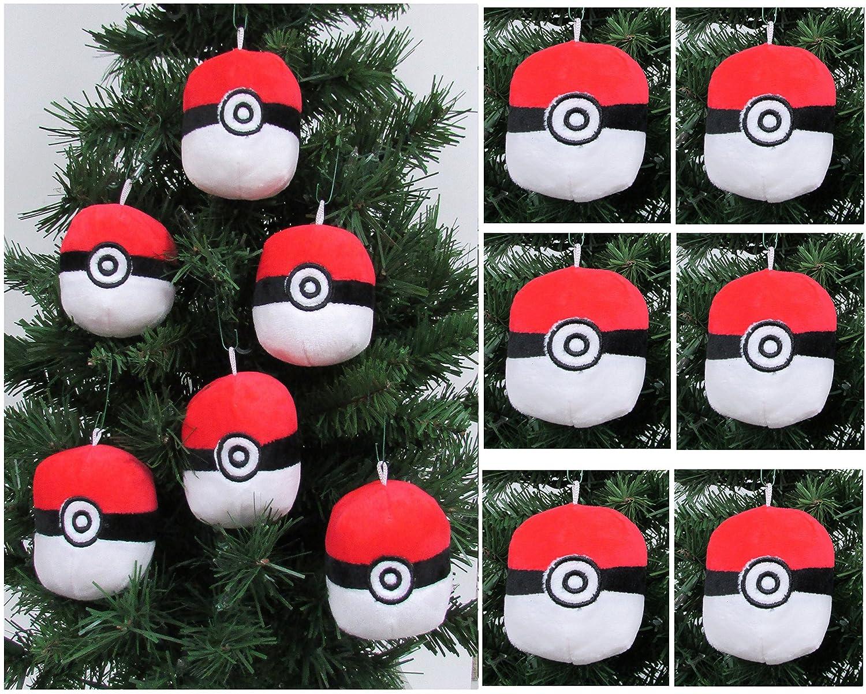 amazoncom pokemon catcher 6 piece pok ball plush christmas tree ornament set featuring 6 red pok balls averages 3 round toys games