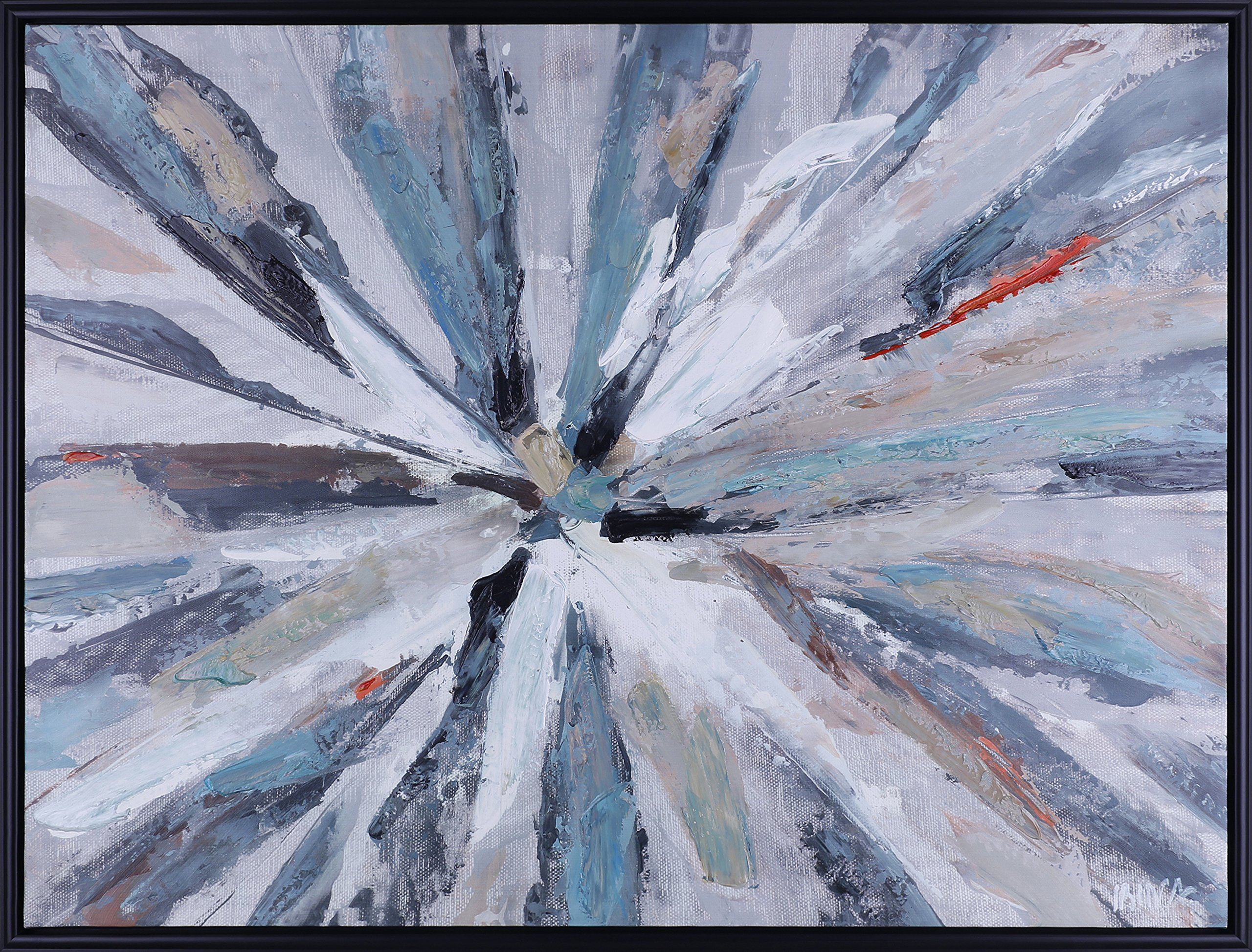 ArtMaison.ca 37.25X49.25 Burst, Abstract Canvas Wall Art, Large, Blue, Grey, White by ArtMaison.ca