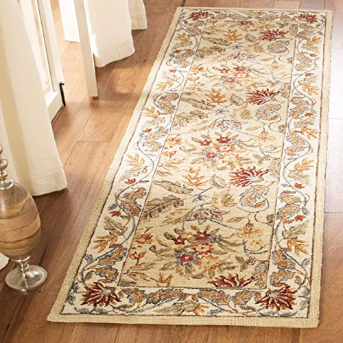 Safavieh Chelsea Collection HK141A Hand-Hooked Ivory Premium Wool Runner 2 6 x 6