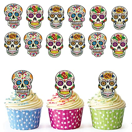 Sugar Skull Cupcake Toppers Cake Decorations Pack Of 12 Amazon