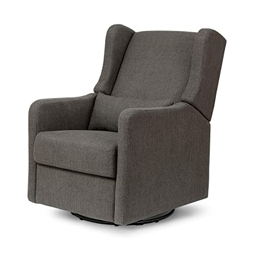 Carter s by Davinci Arlo Recliner and Swivel Glider in Charcoal Linen, Water Repellent, Stain Resistant Fabric, Greenguard Gold