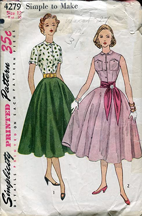 1950s Simplicity 4279 ~ Junior de costura para y patrones de ...