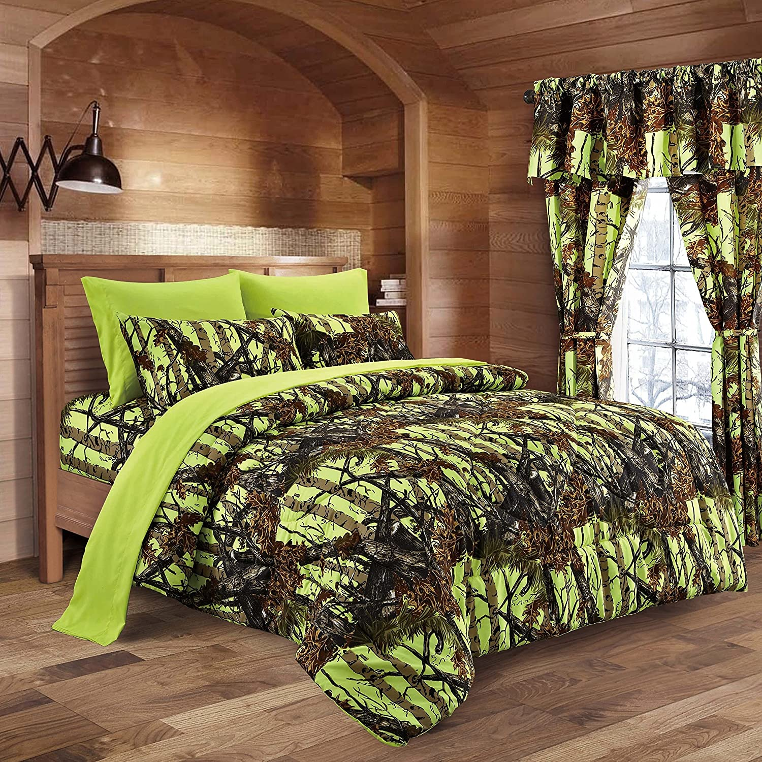 amazoncom  lakes neon green lime camo comforter sheet  - amazoncom  lakes neon green lime camo comforter sheet  pillowcaseset (twin neon green) home  kitchen