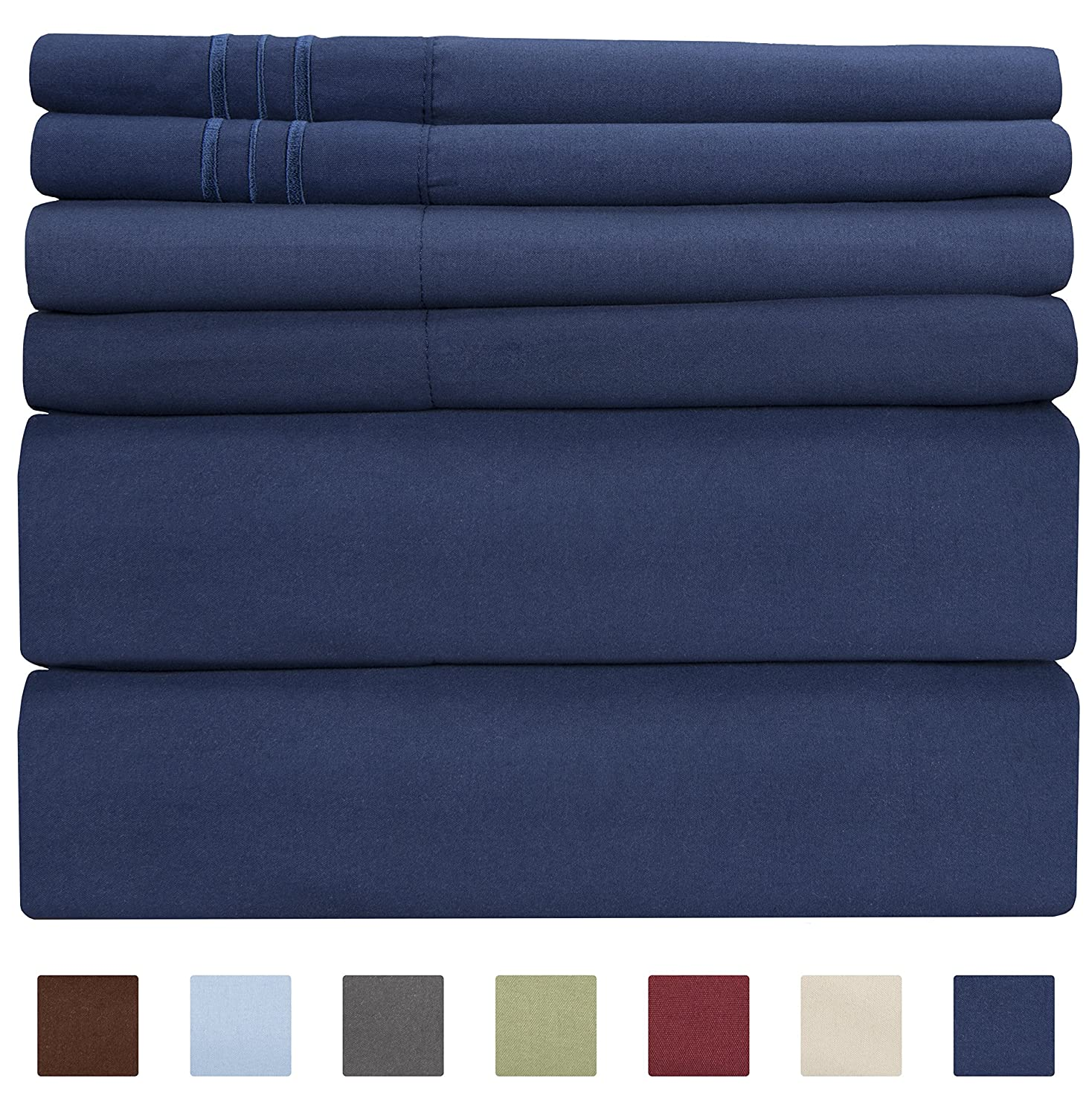 Full Size Sheet Set - 6 Piece Set - Hotel Luxury Bed Sheets - Extra Soft