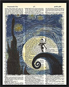 Nightmare Before Christmas Wall Decor Jack Skellington in Van Gogh's Starry Night Nightmare Before Christmas Dictionary Art Print 8 x 10