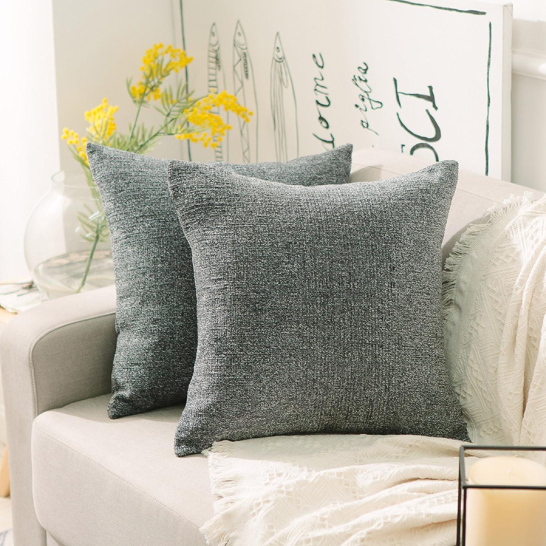 Home Brilliant Square Throw Pillows Cover Decor Supersoft Chenille Velvet Plush Stripes Cushion Covers Decorative, 2 Packs, 18x18 inches (45cm), Dark Grey