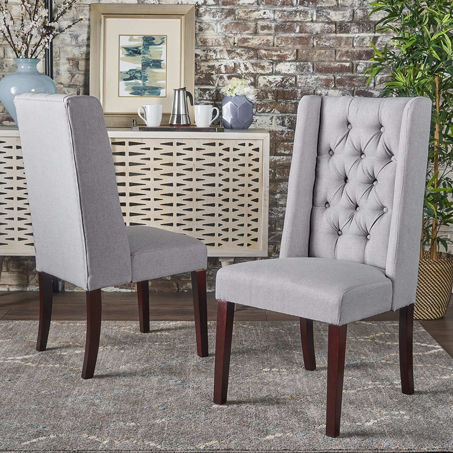 Christopher Knight Home 302096 Blythe Dining Chair Set, Light Grey/Brown