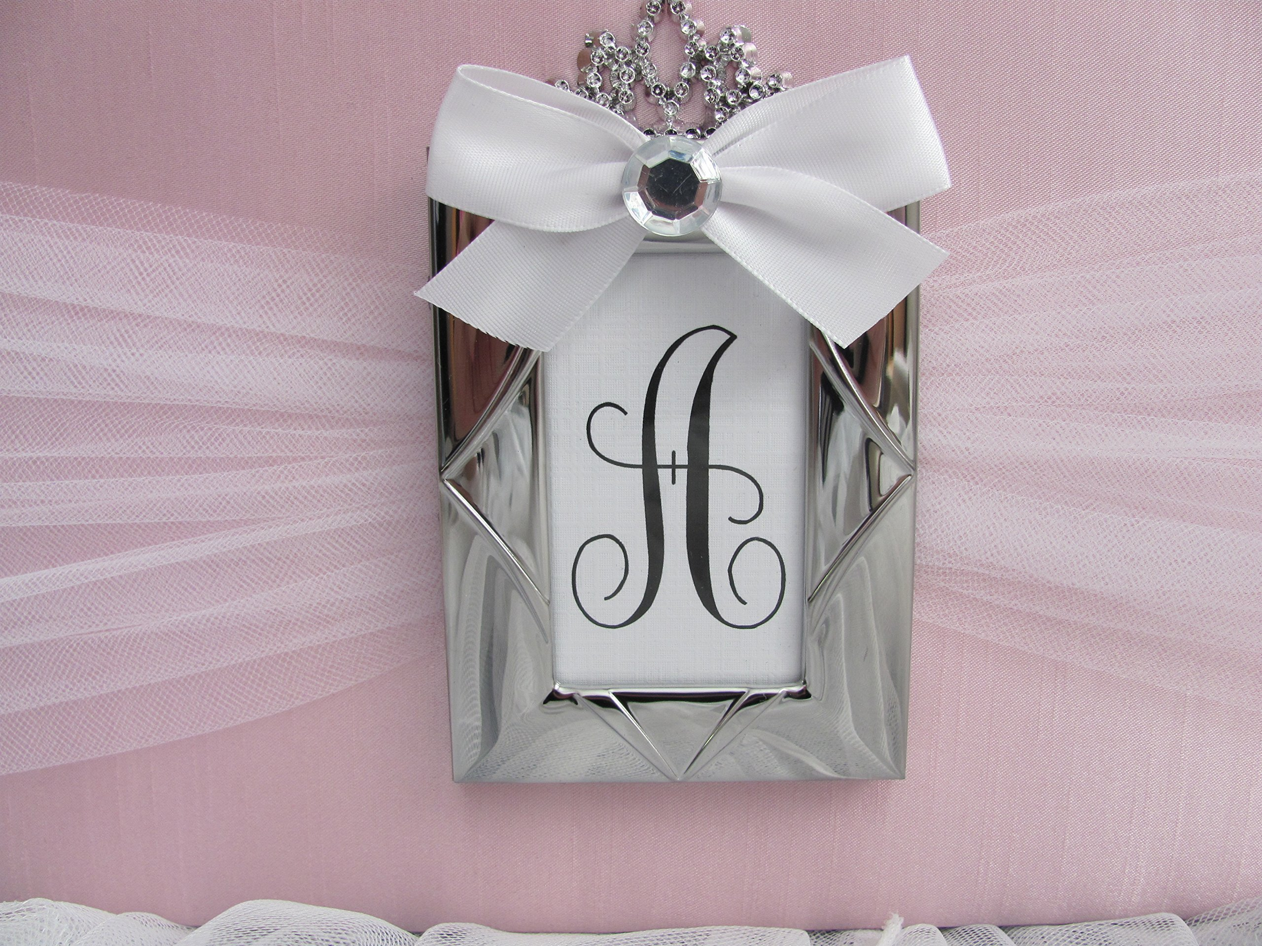 Princess Bed Canopy Crown Valance French Paris Light Pink Gray Silver Upholstered Personalized monogram with tiara and rhinestone