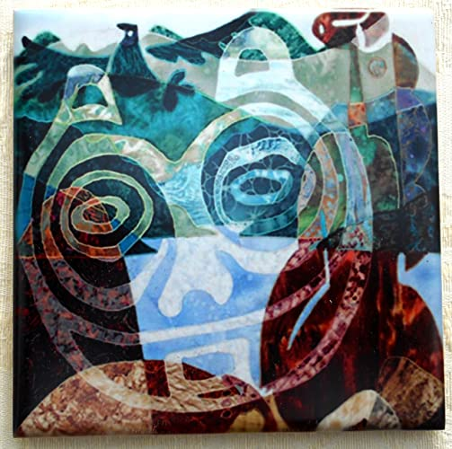 decorative ceramic tile coaster she who watches petroglyph fr columbia river - Decorative Ceramic Tile