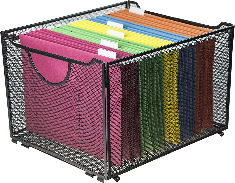 Modern Black Metal Mesh File Box/Foldable Storage Crate/Home Office Folder Holder Organizer Rack : Office Products