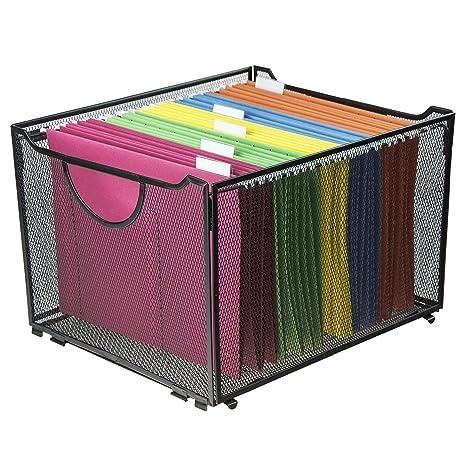 Amazon.com : Modern Black Metal Mesh File Box/Foldable Storage Crate/Home  Office Folder Holder Organizer Rack : Office Products