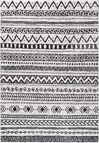 Safavieh Tunisia Collection TUN735A Modern Bohemian Chic Moroccan Berber Tribal Area Rug, 6 7 Round, Ivory Black, 8 x 10