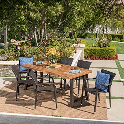 Great Deal Furniture Spennar Outdoor 7 Piece Dining Set With Teak Finished  Wood Table And Multibrown