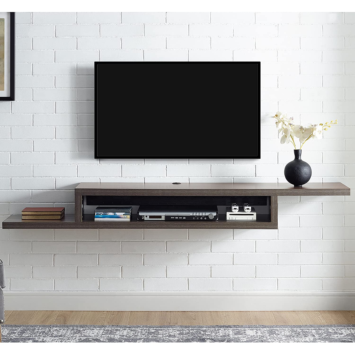 amazoncom martin furniture imass asymmetrical floating wall mounted tvconsole  skyline walnut kitchen  dining. amazoncom martin furniture imass asymmetrical floating wall