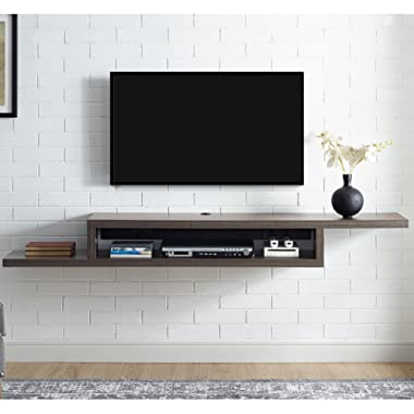 Martin Furniture  Asymmetrical Floating Wall Mounted TV Console, 72inch, Skyline Walnut
