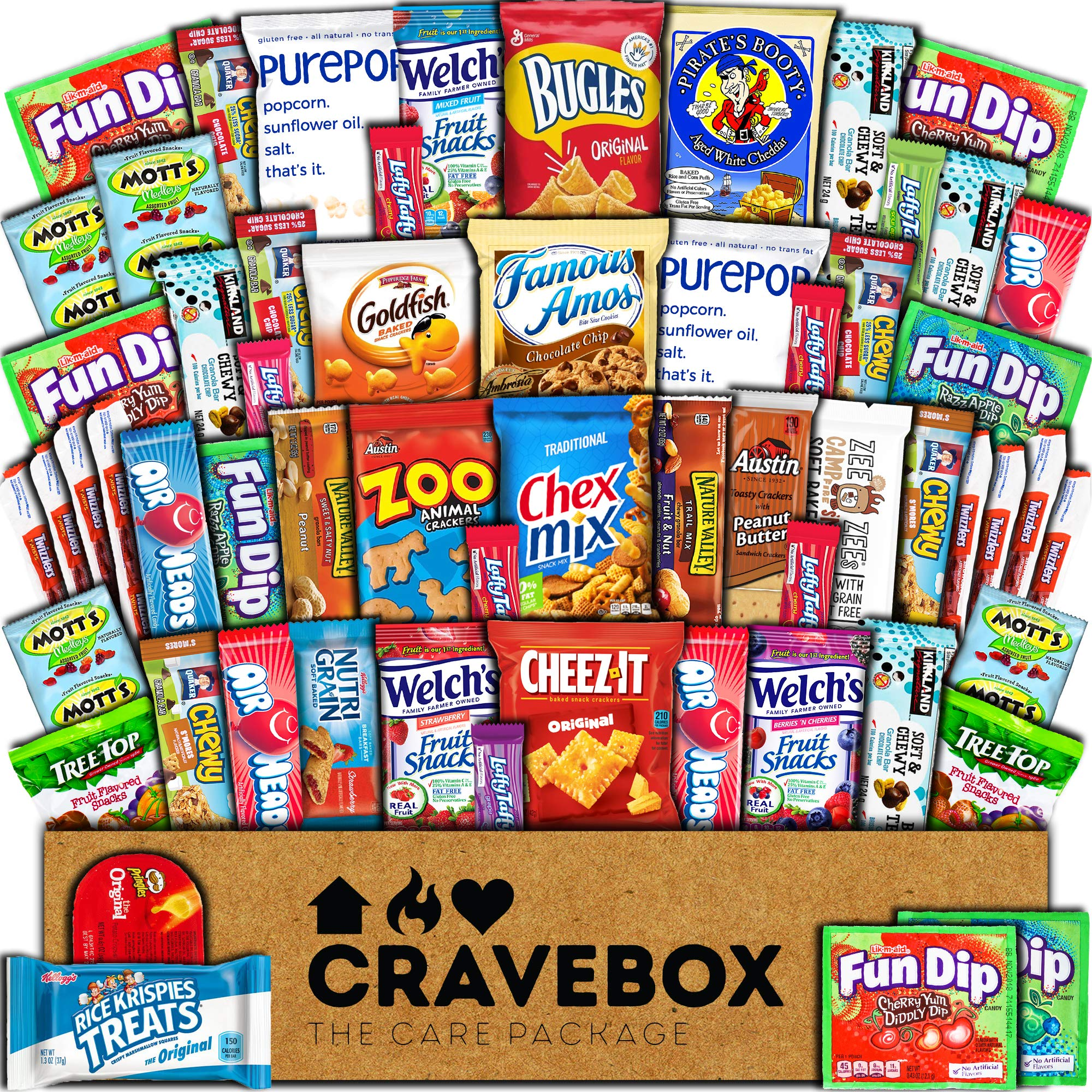 CraveBox Care Package (60 Count) Snacks Cookies Bars Chips Candy Ultimate Variety Gift Box Pack Assortment Basket Bundle Mixed Bulk Sampler Treats College Students Office Fall Back to School Halloween by CRAVEBOX