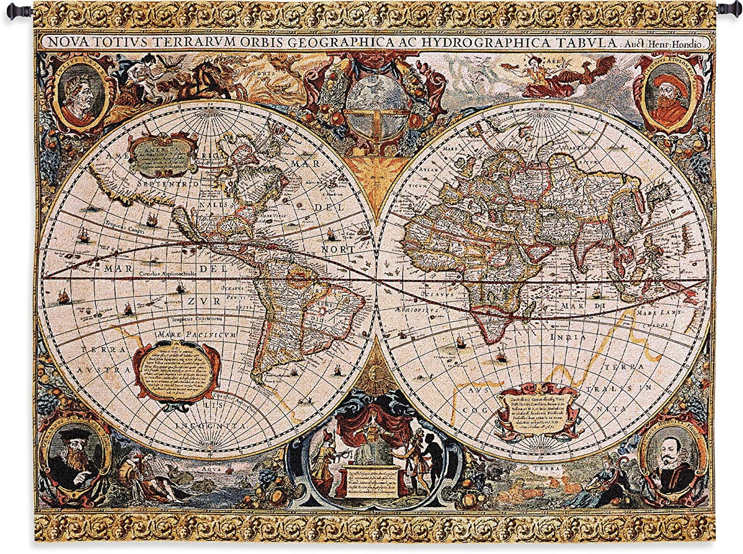 Antique Old World Map Geographica by Jan Janssonius | Woven Tapestry Wall Art Hanging | Beautiful Rustic Globe with Luxurious Mythology Designs | 100% Cotton USA Size 67x53