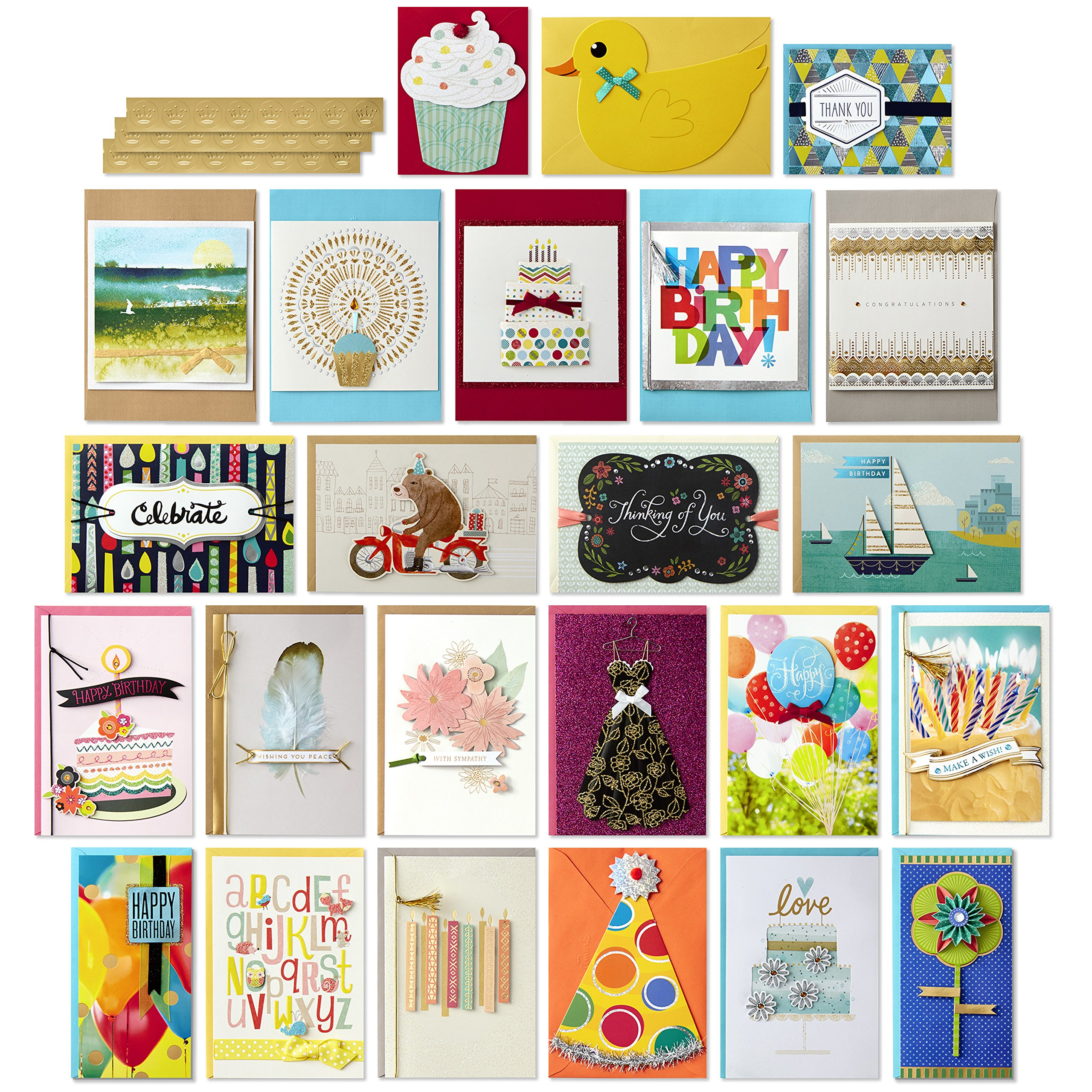 Hallmark All Occasion Handmade Boxed Greeting Card Assortment (Pack of 24)-Birthday, Baby, Wedding, Sympathy, Thinking of You, Thank You, Blank by Hallmark