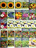 25 Flower Seed Packets Including 10+ Varieties - May Include: Forget Me Nots, Pinks, Marigolds, Zinnia, Wildflower…