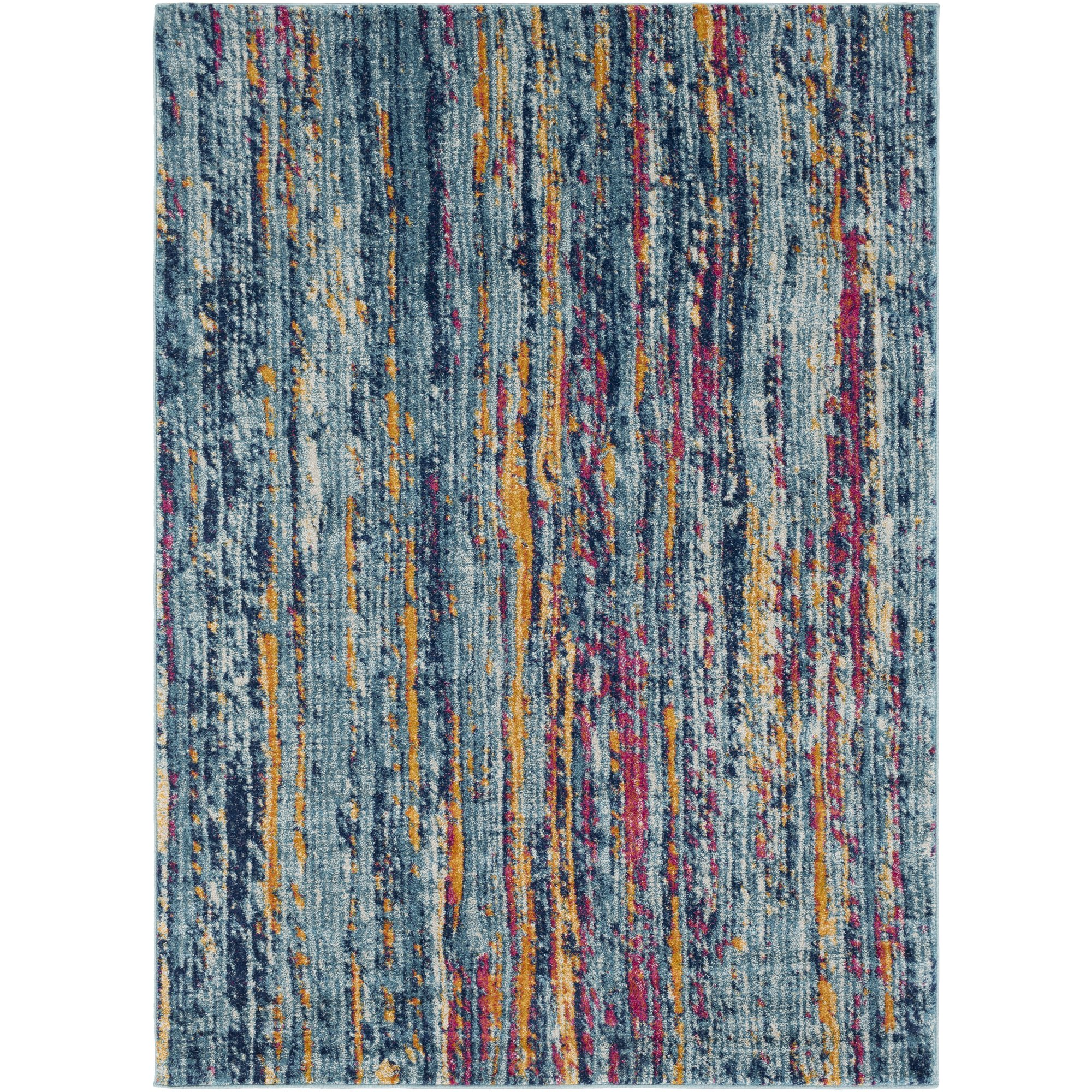 Lamar Blue and Orange Modern Area Rug 2'7'' x 7'3'' by WorldWeavers