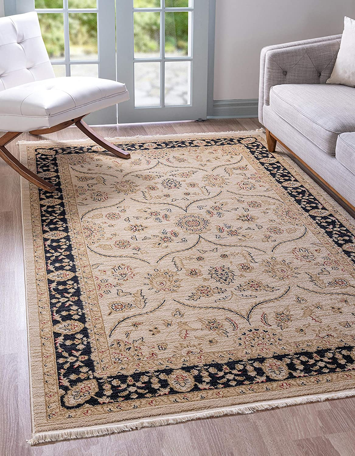 Unique Loom Edinburgh Collection Oriental Traditional French Country Beige Area Rug (5' 0 x 8' 0)