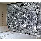 Raajsee Tapisserie main de Fatima, mandala indien gris pour décoration murale ou couvre-lit de style bohème, Noir et Blanc, Taille 210x 230cm