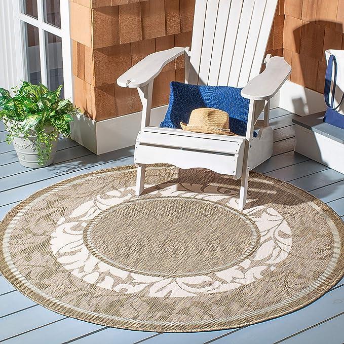 Safavieh CY1704-3101 Courtyard Collection Alfombra Natural y Azul para Interior/Exterior, Polipropileno, Brown/Natural, 53
