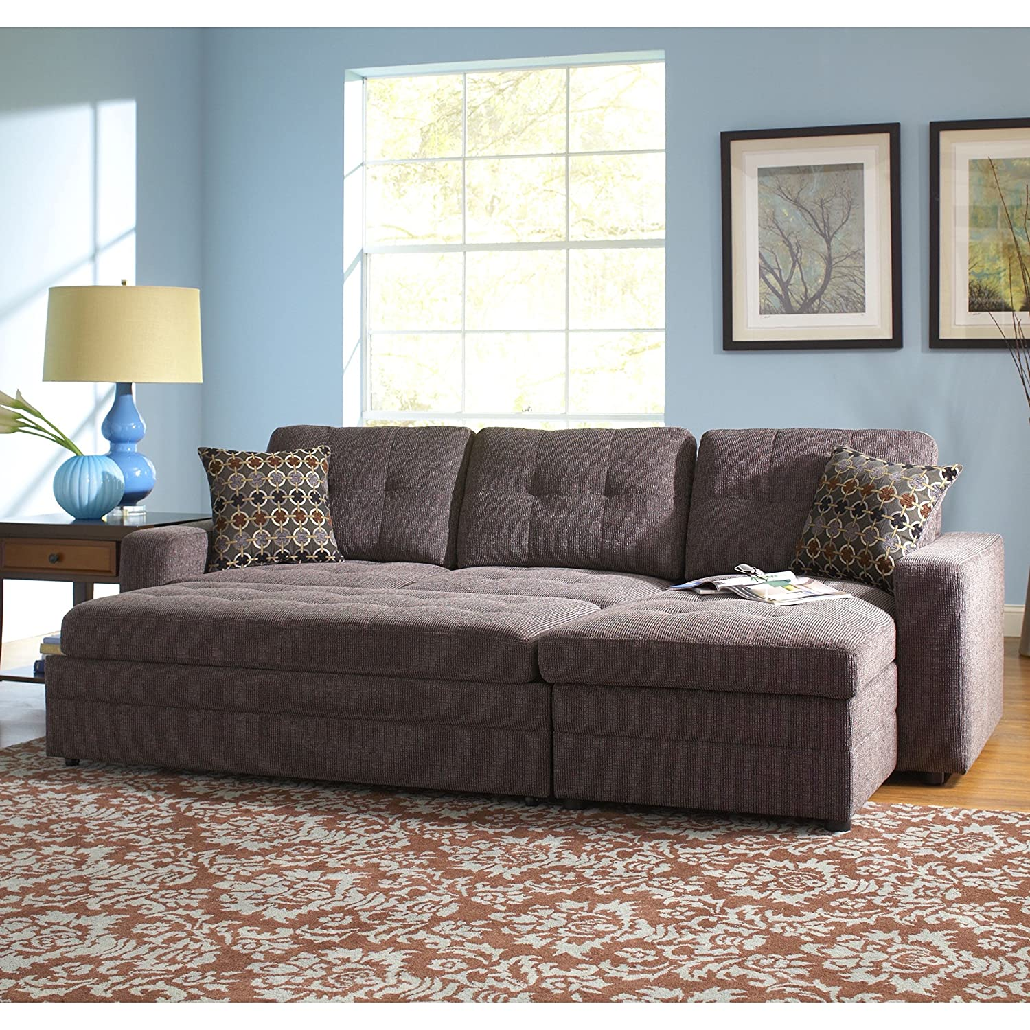 Amazon com gus sectional sofa with pull out bed charcoal kitchen dining