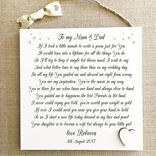 Thank You Mum Dad Wedding Gift PersonalisedParents Plaque Bride