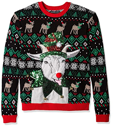 Blizzard Bay Mens Jingle Elf Goat Ugly Christmas Sweater At Amazon