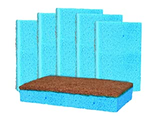 Grease Beast Kitchen Cleaning Sponges. 6Pack. NO Odor Guarantee. Inhibits Bacteria. Powerful Eco Kitchen/Household/Dish Sponges w/Walnut Scrubbers. 40x more durable. (6)