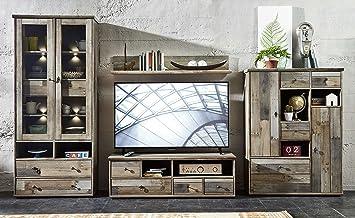 Wohnwand Wohnzimmer Set U0026quot;BONANZAu0026quot; 4 Tlg. Vitrine Kommode TV  Lowboard TV