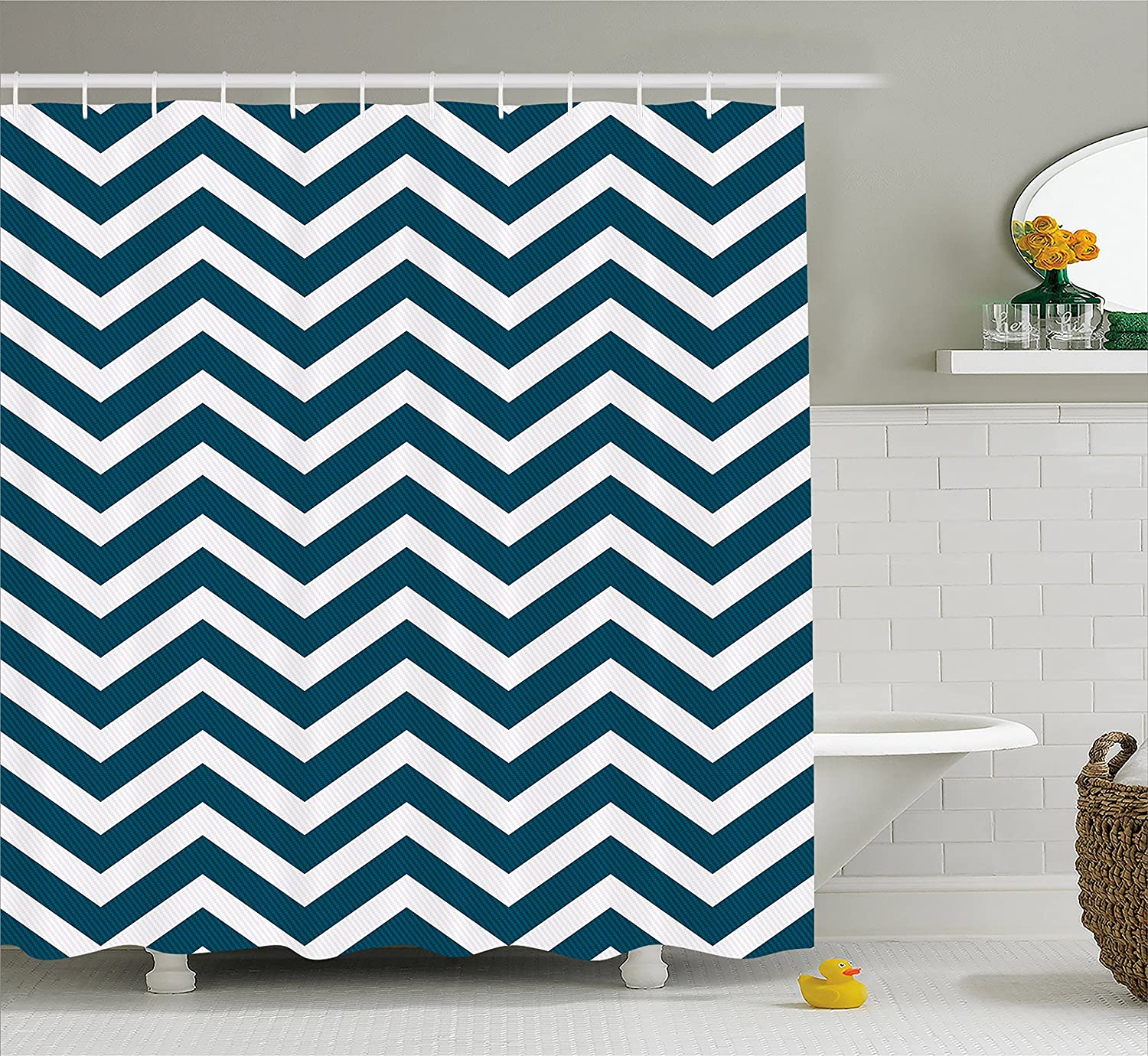 Ambesonne Navy Shower Curtain Zigzag Chevron Geometrical Design Lines Sea Waves Inspired Decor Art Print Fabric Bathroom Set With Hooks 70 Inches
