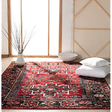 Safavieh Vintage Hamadan Collection VTH211A Antiqued Oriental Red and Multi Area Rug (5'3  x 7'6 )