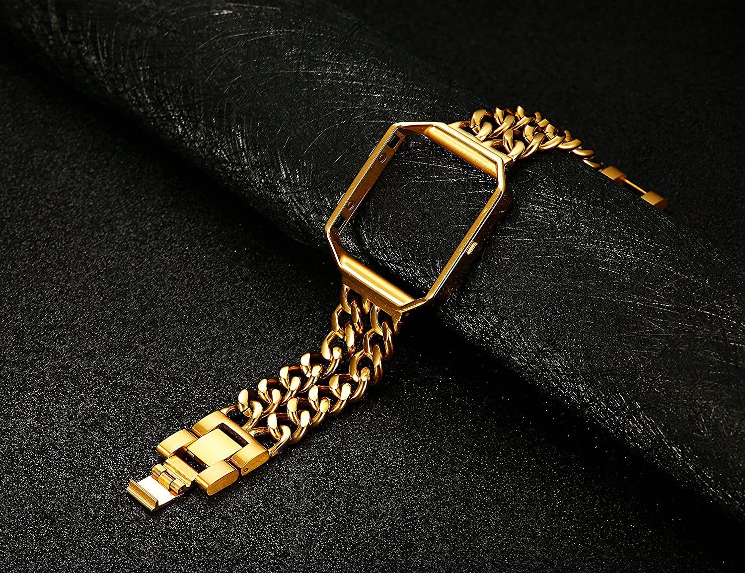 For Fitbit Blaze Band Thunaraz Replacement Band Stainless Steel Chain Band with Metal Frame Silver Black Gold Rose Gold Tone for Fitbit Blaze with Tempered Glass Screen Protector