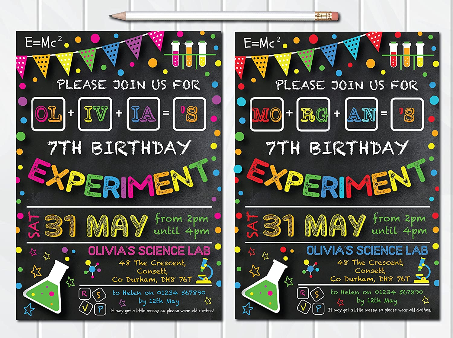 10 Personalised Science Birthday Party Invites Invitations Boy Girl Consett Print Services
