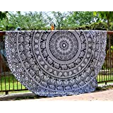 Elephant Mandala Round Roundie Beach Throw Indian Tapestry Hippie Yoga Mat Decor by HandicraftsPalace