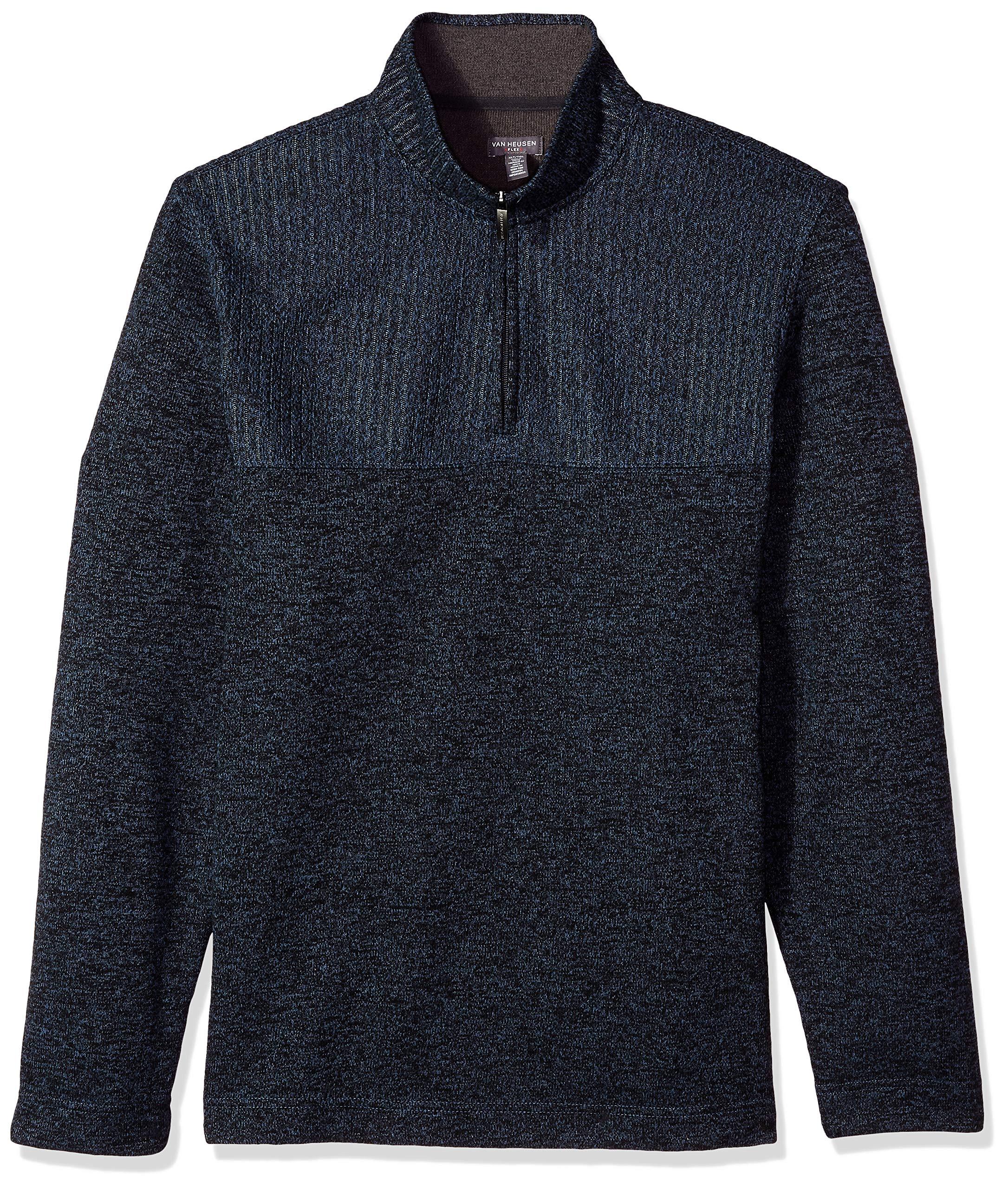 Van Heusen Men's Big Flex 1/4-Zip Solid Sweater, Blue Thunder, 3X-Large Tall