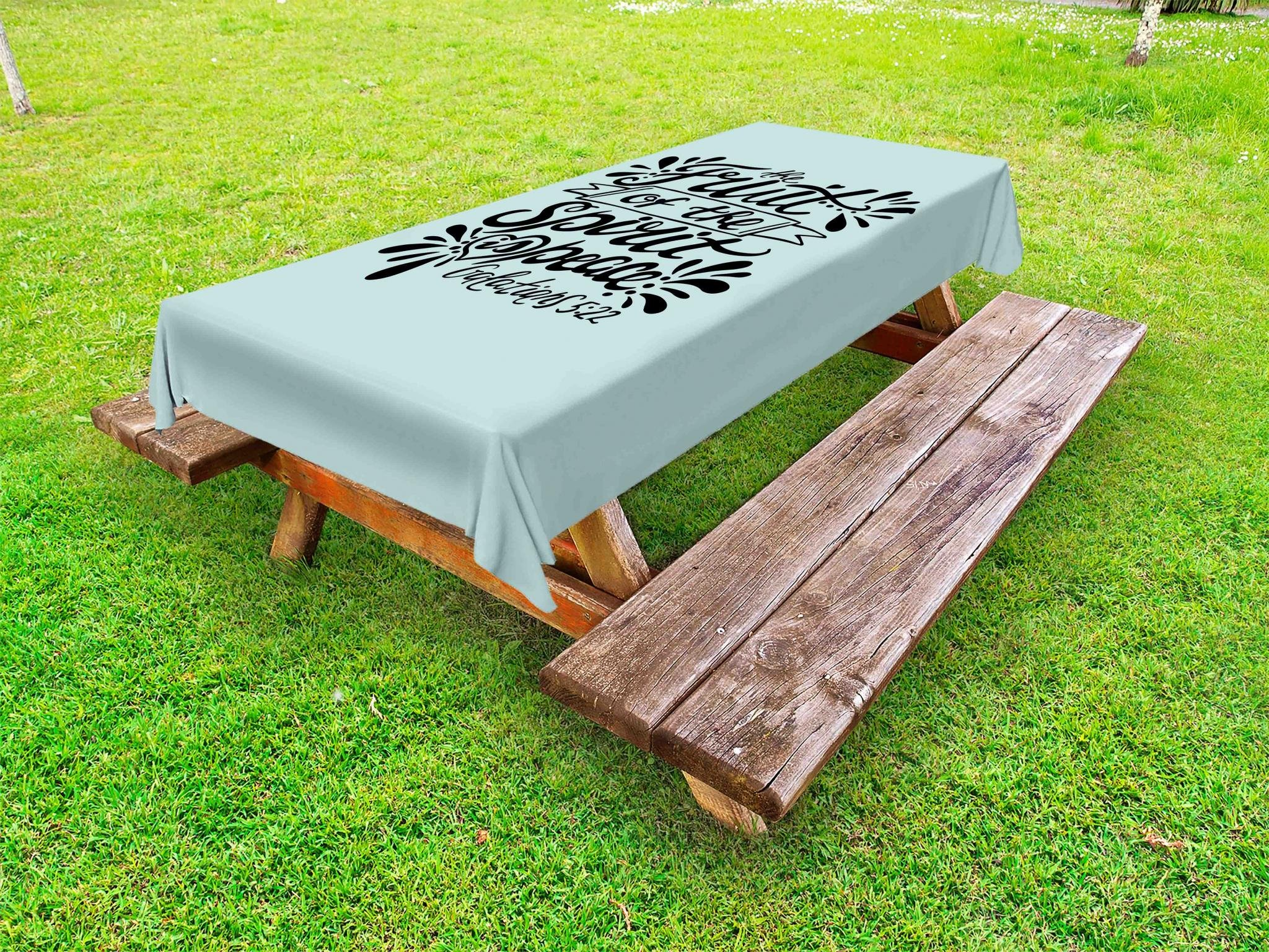 Lunarable Religious Outdoor Tablecloth, Hand Lettering The Fruit of The Spirit is Peace Quote Spiritual Verse, Decorative Washable Picnic Table Cloth, 58 X 104 inches, Baby Blue and Black