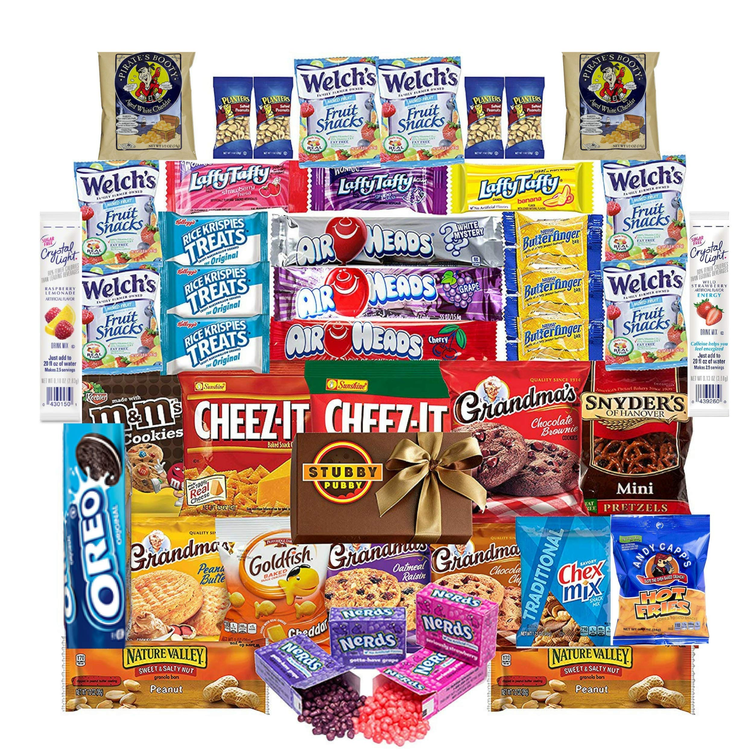 CDM product Stubby Pubby Care Package (42 Count) Snacks Cookies Bars Chips Candy Mixed Bulk Sampler Treats Ultimate Variety Gift Box Pack Assortment Basket Bundle College Students Office Fall Halloween big image
