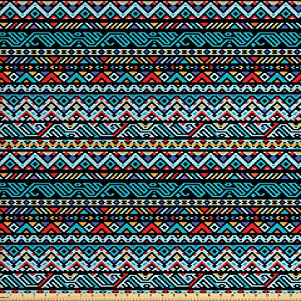 Amazon Com Lunarable Native American Fabric By The Yard Colorful
