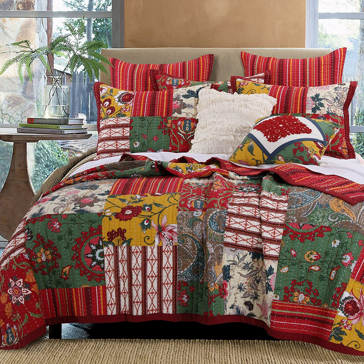 Greenland Home Arcadia Quilt Set Full//Queen 3 Piece